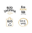 eco and bio hand drawn labels set calligraphic vector image