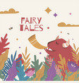 fairy bison plays a pipe in a magical forest vector image vector image