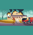 fireman extinguish fire on house vector image