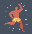 funny man running in shorts vector image