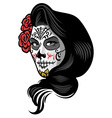 girl wearing day dead make up style vector image vector image
