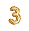 gold number three air balloon for baby shower vector image
