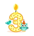 Happy Third Birthday Candle and Animals Isolated vector image vector image