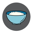 Healthy food icon porridge blue plate