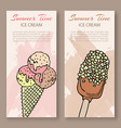 ice cream sketch vertical banners set hand vector image