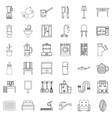 interior icons set outline style vector image vector image