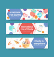 international day charity banner concept vector image vector image