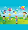 kids playing with balloons vector image