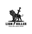 lion killer logo vector image vector image