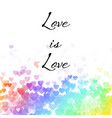 love is love on heart background vector image