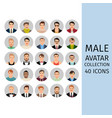 male avatar collection icons set vector image vector image