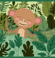 monkey in the forest scene vector image vector image