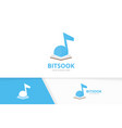 note and open book logo combination music vector image vector image