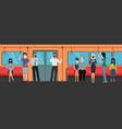 people in masks with devices in subway flat vector image