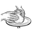 pot of clay on potters wheel engraving vector image