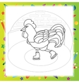 Rooster bird skate on skating ring - coloring book vector image