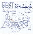 Sandwich recipe on a notebook page vector image