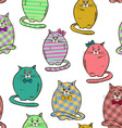 Seamless pattern of funny fat cats vector image vector image