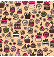 seamless pattern of hand drawn cakes desserts vector image