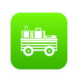 service cart with luggage icon digital green vector image vector image