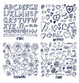 set font hearts flowers and food templates vector image