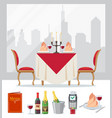set restaurant colorful icon in flat style vector image