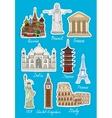 set travel landmarks icons vector image
