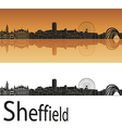 Sheffield skyline in orange background vector image vector image