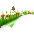 Spring background with flowers grass and a vector image vector image
