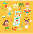 summer kids set swimming playing on beach vector image vector image