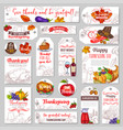 thanksgiving day sketch holiday tags vector image vector image