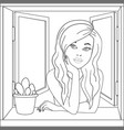 the girl in the open window pop art vector image