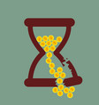 time is money broken hourglass with gold coins vector image