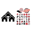 Town Buildings Flat Icon with Bonus vector image vector image