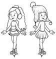Two cute girls on skates vector image