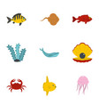 underwater fauna icons set flat style vector image vector image