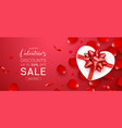 valentines day sale gift box heart shape red bow vector image