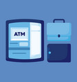 wallet money with portfolio and atm vector image vector image