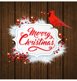 White fir branch and cardinal bird vector image vector image