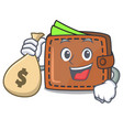 with money bag wallet character cartoon style vector image