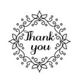 thank you lettering in hand draw frame vector image