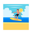 young man riding surfboard enjoying summer water vector image