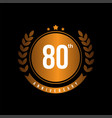 80th anniversary template design vector image