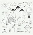 adventures hand drawn doodle set in vintage style vector image vector image