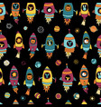 astronaut space animals on black seamless vector image vector image