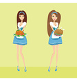 Beautiful Waitress serving a chicken vector image vector image