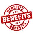 Benefits round red grunge stamp