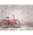 Bicycle in front of a grey brick wall vector image