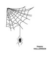 black silhouette spider on web halloween party vector image vector image