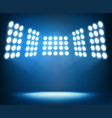 bright spotlights on dark blue background night vector image vector image